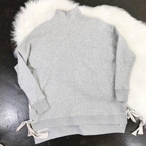 Free People Heather Grey Mock Neck Cotton Sweater